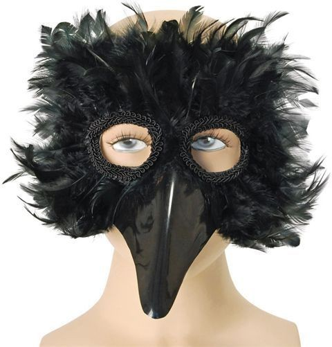 Black Bird Feather Eye Mask Fancy Dress Eyemask