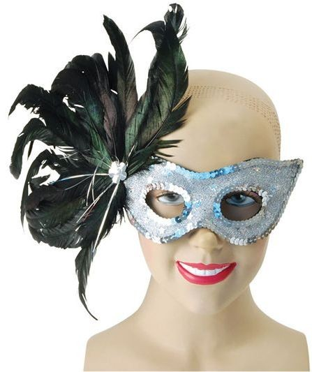 Silver Feather Mask + Black Feathers (Fancy Dress Eyemasks)