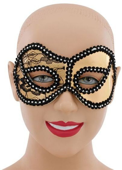 Gold Metallic Lace Domino (Fancy Dress Eyemasks)