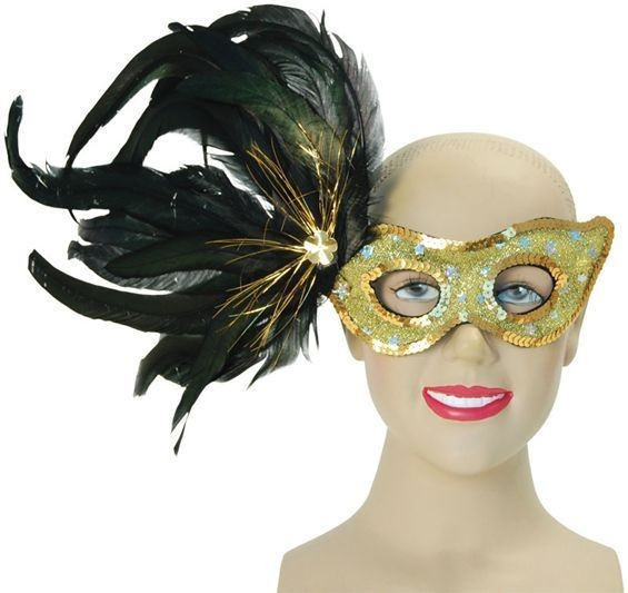 Gold Mask With Black Feathers (Fancy Dress Eyemasks)