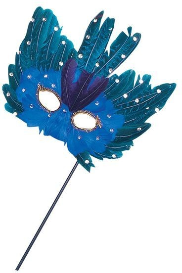 Blue/Green Feather Eye Mask/Stick (Fancy Dress Eyemasks)