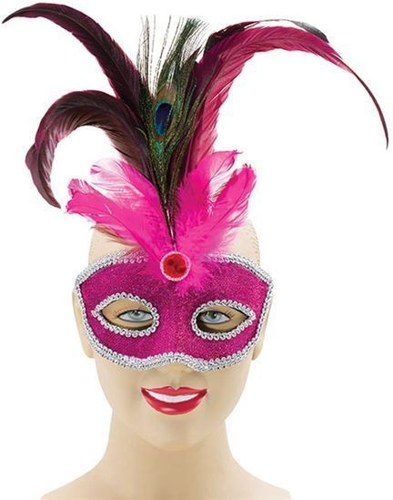 Pink + Tall Peacock Feather (Fancy Dress Eyemasks)