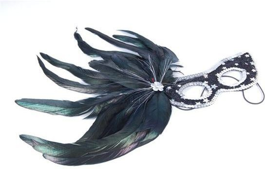 Black&Silver Star+Side Black Feathers (Fancy Dress Eyemasks)