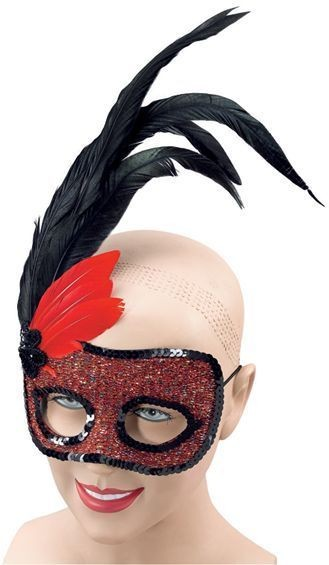Red Side Feather Mask (Fancy Dress Eyemasks)