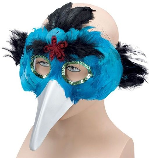 Bird Feather Mask & Beak.Turquoise (Fancy Dress Eyemasks)