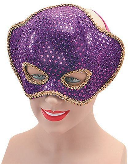 Purple Sequin Half Face & H'Band (Fancy Dress Eyemasks)