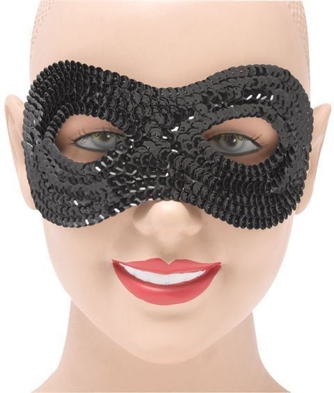 Black Sequin Eye Masks Fancy Dress Eyemask