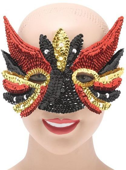 Sequin Eye Mask Black Mix (Fancy Dress Eyemasks)
