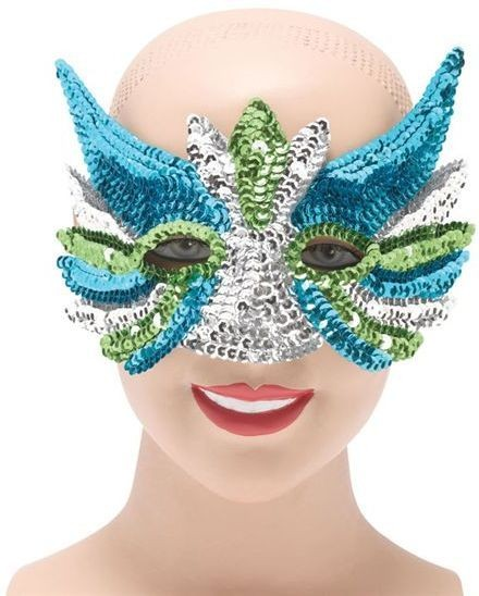 Sequin Eye Mask Silver Mix (Fancy Dress Eyemasks)