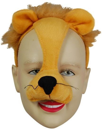 Lion Mask On Headband & Sound (Animals Fancy Dress Masks)