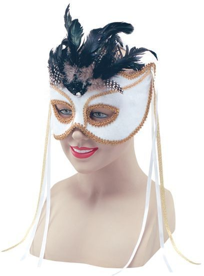 White Velvet On H'Band & Feathers (Fancy Dress Eyemasks)