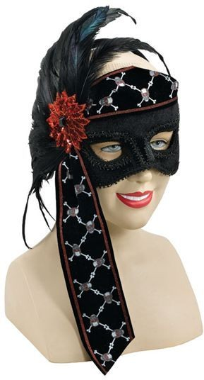 Pirate Scarf Half Face On Band (Pirates Fancy Dress Masks)