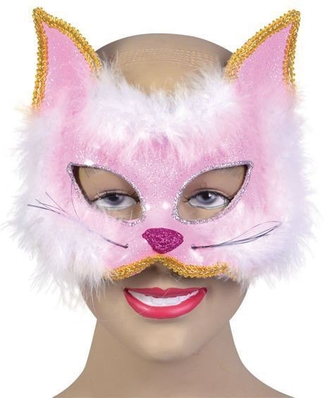 Glitter Cat Mask Pink On H'Band (Fancy Dress Eyemasks)