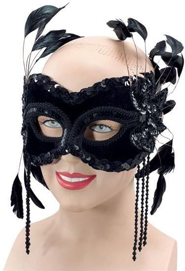 Black Velvet Mask & Feathers Fancy Dress Eyemask