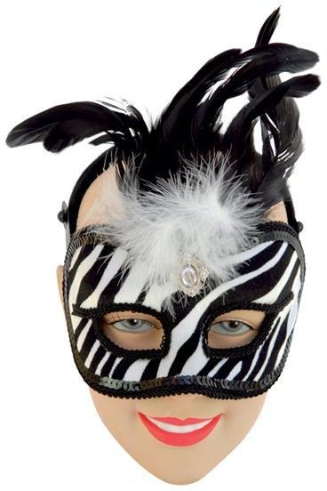Black/White Mask On Band (Fancy Dress Eyemasks)