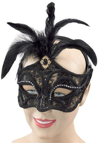 Black Mask + Tall Feathers On Headband (Fancy Dress Eyemasks)