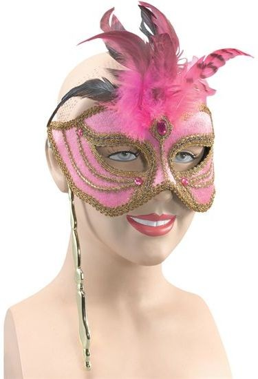 Mask On Stick. Pink/Tall Feathers (Fancy Dress Eyemasks)