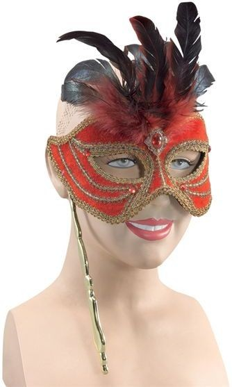 Mask On Stick. Red/Tall Feathers (Fancy Dress Eyemasks)