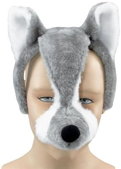 Wolf Mask On Headband + Sound (Animals Fancy Dress Masks)