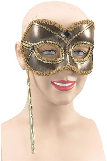 Mask On Stick. Gold (Fancy Dress Eyemasks)