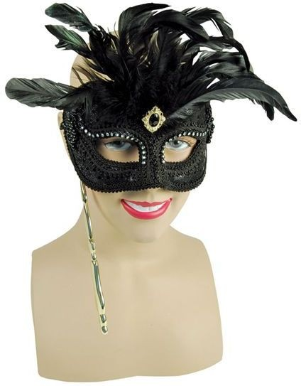 Black Mask & Feathers On Stick (Fancy Dress Eyemasks)