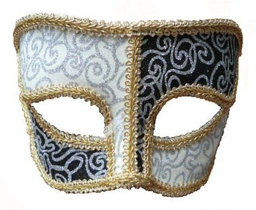 Black White Pattern Mask + Gold Trim (Fancy Dress Eyemasks)