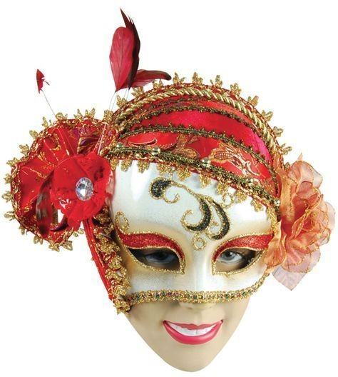 Charleston Style Mask + Red Decoration (Fancy Dress Eyemasks)