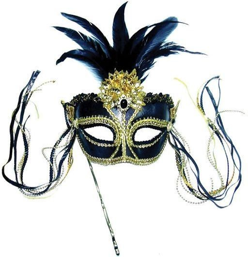 Black/Gold Mask With Tassels On Stick (Fancy Dress Eyemasks)
