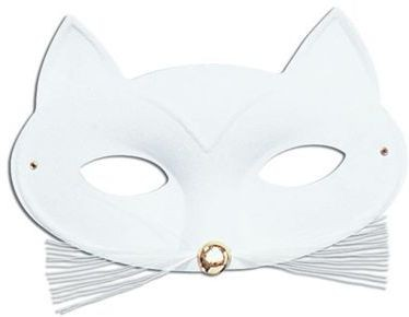 Cat Domino Eye Mask. White Fancy Dress Eyemask