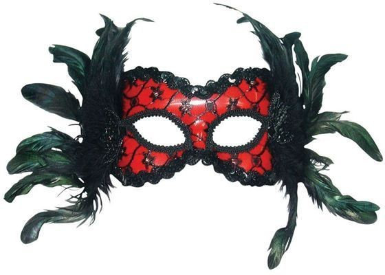 Red/Black Mask + Feathers On H'Band Fancy Dress Eyemask