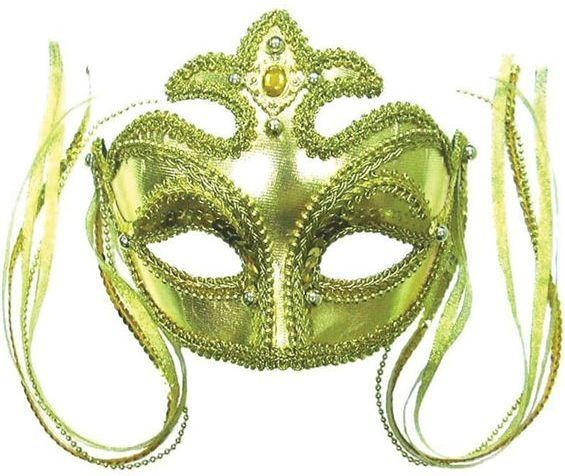 Gold Mask + Jewels/Beads + Tassels (Fancy Dress Eyemasks)