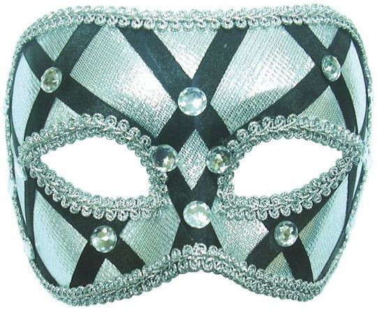 Silver + Black On Headband (Fancy Dress Eyemasks)
