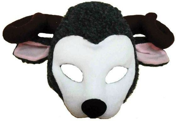 Goat Mask On Headband + Sound (Animals Fancy Dress Masks)