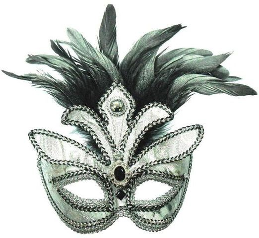 Silver + Tall Black Feather Mask (Fancy Dress Eyemasks)