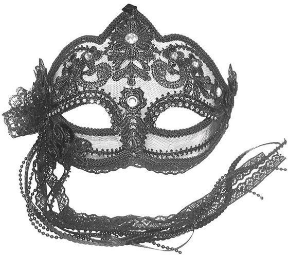 Transparent Mask. Black Flower (Fancy Dress Eyemasks)