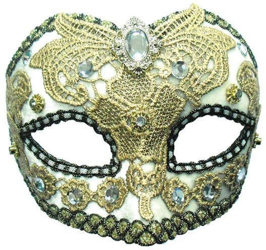 White/ Gold Lace + Jewel (Fancy Dress Eyemasks)