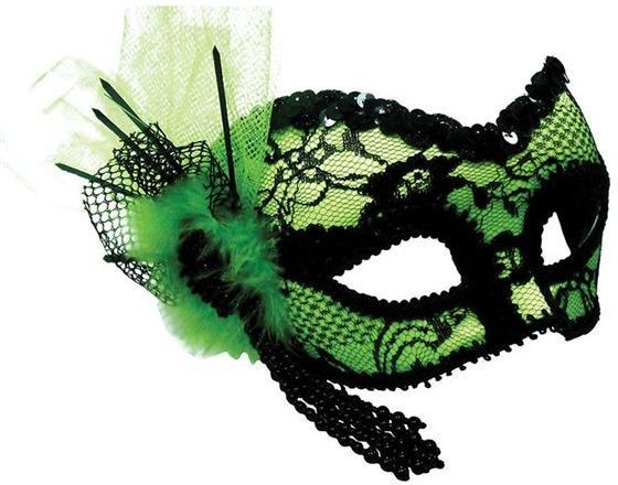 Green Mask + Black Lace Decoration (Fancy Dress Eyemasks)