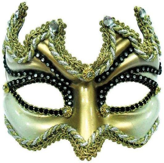 Half Face Mask. Black/Gold (Fancy Dress Eyemasks)