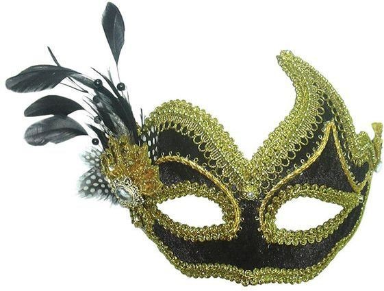 Black/Gold With Side Feather (Fancy Dress Eyemasks)