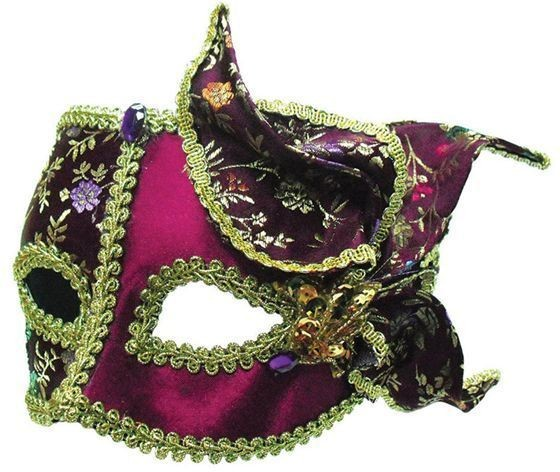 Burgundy / Gold With Side Feather (Fancy Dress Eyemasks)