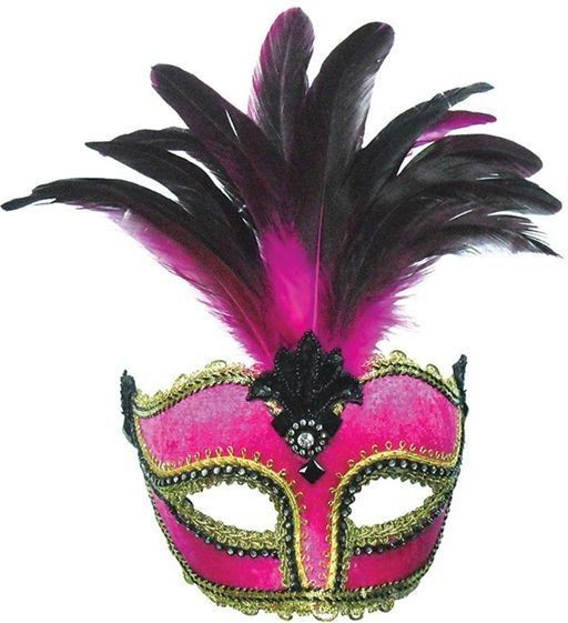 Pink Velvet Mask / Tall Feather (Fancy Dress Eyemasks)