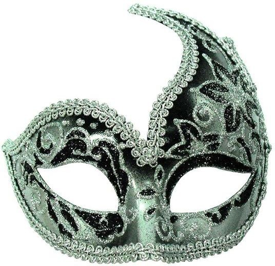 Decorative Half Mask. Silver/Black (Fancy Dress Eyemasks)