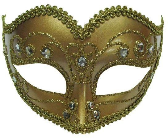 Jewelled Party Mask. Gold (Fancy Dress Eyemasks)