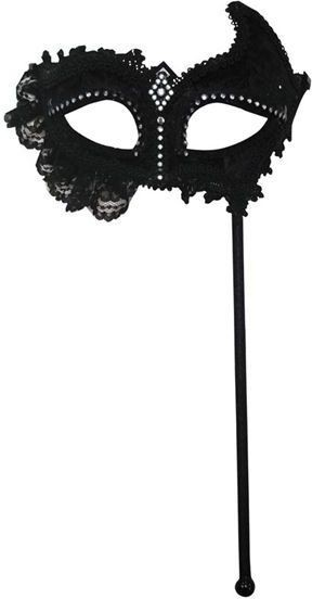 Black Mask + Lace On Stick Fancy Dress Eyemask