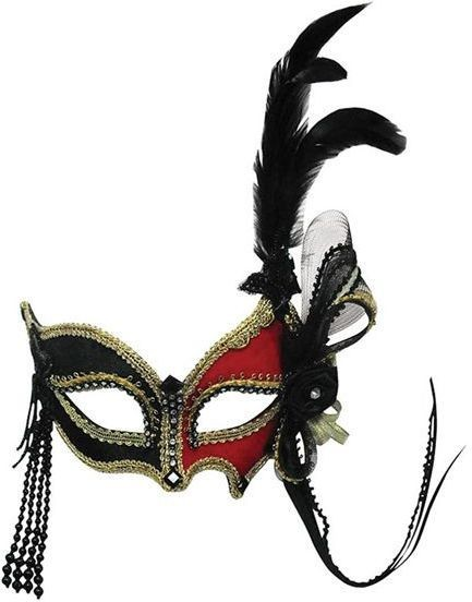 Red/Black + Feather (On Headband) (Fancy Dress Eyemasks)