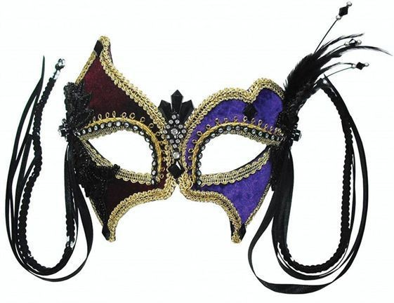 Purple/Burgundy + Feather (On Headband) (Fancy Dress Eyemasks)
