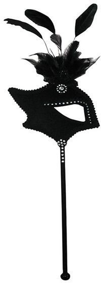 Black One Eye Mask On Stick Fancy Dress Eyemask