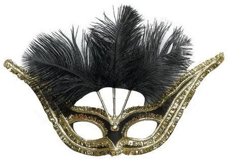 Gran Gala Domino, Blk & Feathers (Fancy Dress Eyemasks)