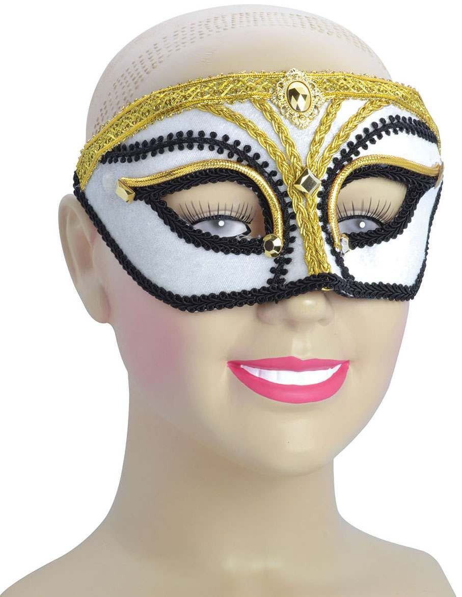 Ladies White/Gold With Black Trim(Glasses Style)Eyemask
