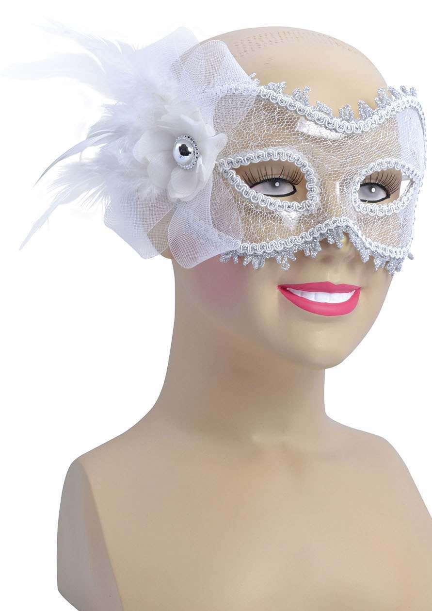 Ladies White Transparent + Side Feather Eyemask